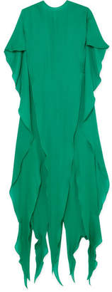 Ronald van der Kemp - Butterfly Draped Silk-chiffon Gown - Green