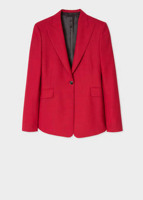 Paul Smith Women's Slim-Fit Red Houndstooth One-Button Wool Blazer