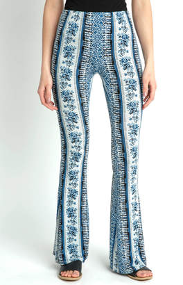 Patrons Of Peace Vertical Turquoise Print Fit & Flare Pant