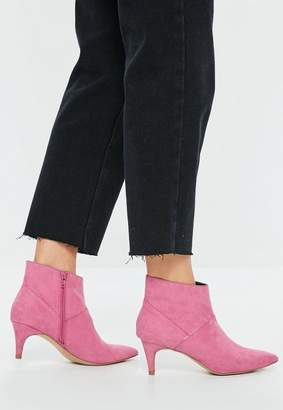 Missguided Pink Faux Suede Kitten Heeled Boots