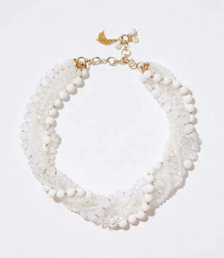 LOFT Twisted Multistrand Bead Necklace