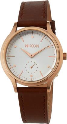 Nixon 38mm Sala Leather Watch, Brown/Rose