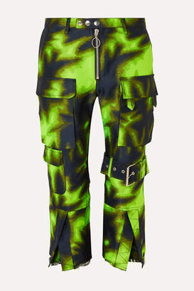 Marques Almeida Marques' Almeida - Cropped Brocade Straight-leg Pants - Lime green