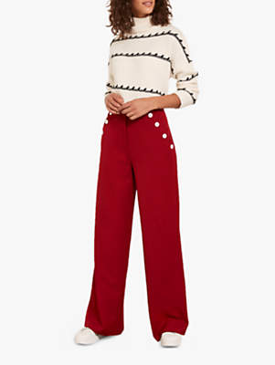 Button Pocket Wide Leg Trousers, Cherry Red