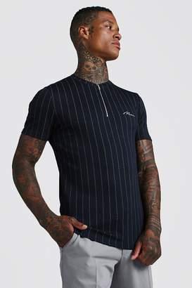 boohoo Muscle Fit MAN Signature Zip Neck Stripe T-Shirt