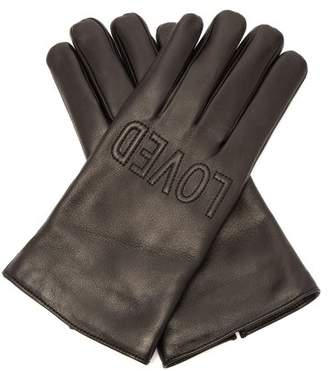 Gucci - Gucci Loved Embroidered Leather Gloves - Mens - Black