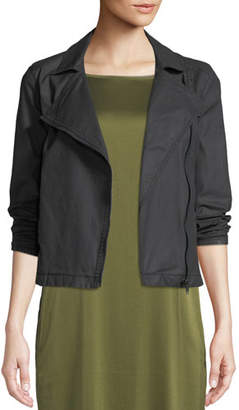 Eileen Fisher Waxed Organic Cotton Moto Jacket, Plus Size