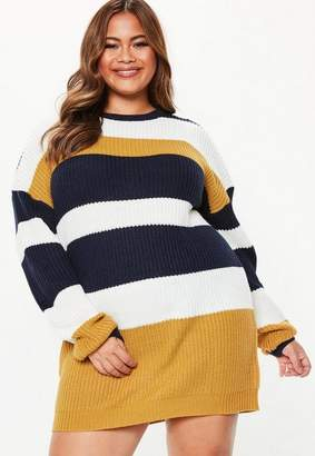 Missguided Plus Size Mustard Crew Neck Striped Sweater Dress