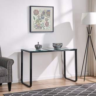 Southern Enterprises Tre Contemporary Console Table w/ Glass Top, Modern, High Shine Black