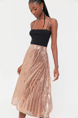 Urban Outfitters Emilia Sequin Pleated Midi Skirt