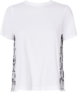 Sea Pinstripe Eyelet Combo T-Shirt $190 thestylecure.com