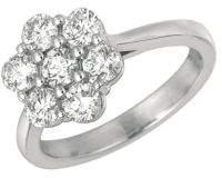 Morris & David Diamond and 14K White Gold Flower Ring 0.5 TCW