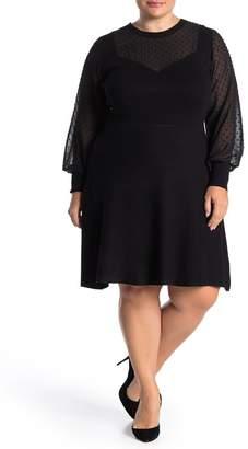 City Chic Long Sleeve Knit Dobby Dress (Plus Size)