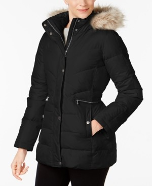 Larry Levine Faux-Fur-Trim Hooded Hooded Puffer Coat