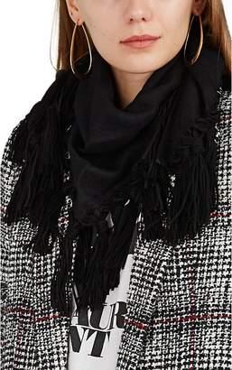 Saint Laurent Women's Suede-Fringed Alpaca-Wool Gauze Triangle Scarf