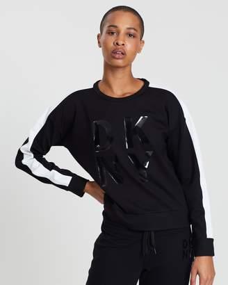 DKNY Lacquer Logo Long Sleeve Crop Sweatshirt