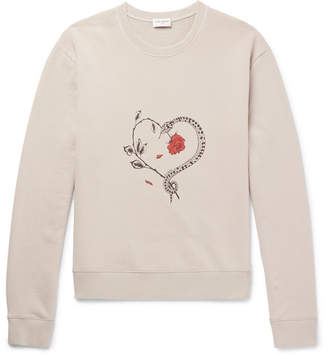 Saint Laurent Printed Loopback Cotton-Jersey Sweatshirt - Men - Beige
