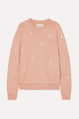 The Great The College Embroidered Slub Cotton-jersey Sweatshirt - Pink