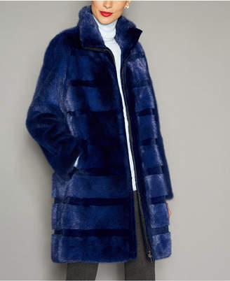 The Fur Vault Striped Mink Fur Coat