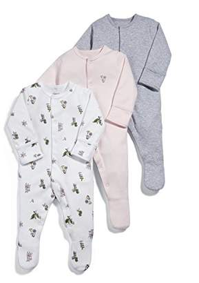 Mamas and Papas Baby Girls' Pack of 3 Botanical Sleepsuits Sleepsuits,Pack of 3