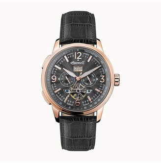 Ingersoll Regent Automatic Chronograph with Rose Gold Ip Stainless Steel Case, Black Dial and Brown Croco Embossed Leather Strap