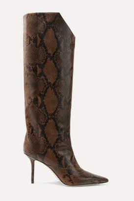 Jimmy Choo Brelan 85 Snake-effect Leather Knee Boots - Snake print