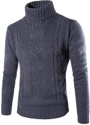 MK988-Men MK988 Mens Winter Turtleneck Long Sleeve Vintage Knitted Pullover Sweater S