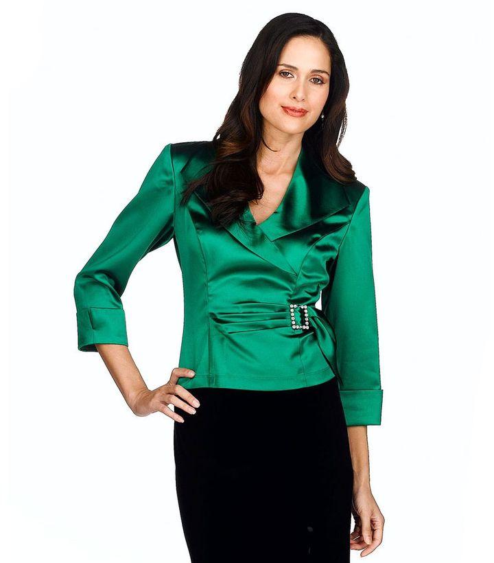 J.r. nites satin wrap blouse