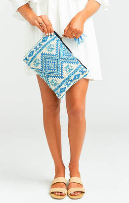 Show Me Your Mumu First Kiss Beaded Clutch ~ Blue/White