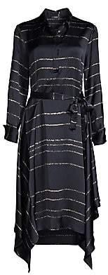 Peserico Women's Long-Sleeve Faded Stripe Handkerchief Midi Shirtdress