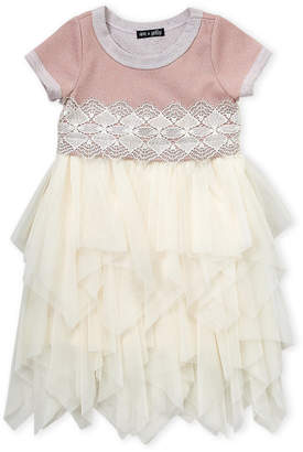 Ava & Yelly (Girls 4-6x) Fairy Hem Lace Trim Dress