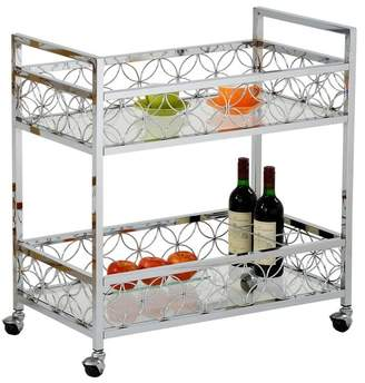 JAY IMPORTS Silver Plated Metal Rolling Cart