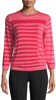 St. John Intarsia Stripes Jewel-Neck Sweater