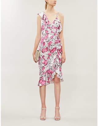 Lavish Alice Ruffled snake-print stretch-satin midi dress