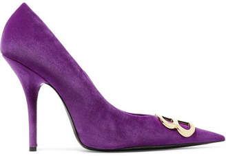 Balenciaga Knife Logo-embellished Velvet Pumps - Purple