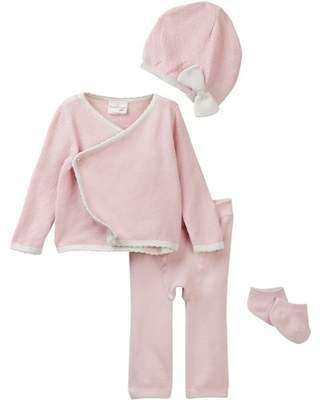 Cuddl Duds Textured Cardigan, Pants, Hat & Socks Set (Baby Girls)