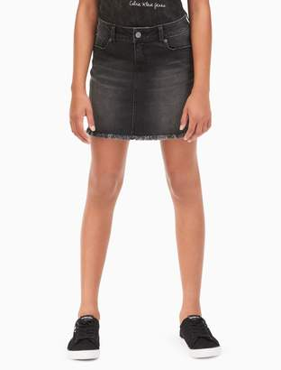 Calvin Klein girls denim high-low skirt