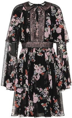 Giambattista Valli Lace-trimmed floral silk minidress