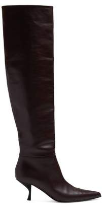 The Row Bourgeoisie Knee High Leather Boots - Womens - Burgundy