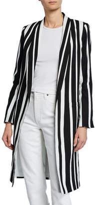 Alice + Olivia Kylie Striped Long Easy Jacket