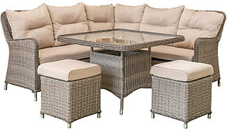 LG Electronics Outdoor Marseille 7 Seater Compact Modular Garden Dining Table and Chairs Lounging Set, Natural