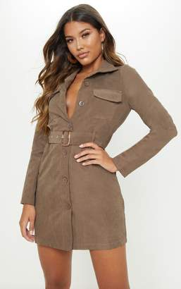 PrettyLittleThing Chocolate Faux Suede Button Front Belted Cargo Dress
