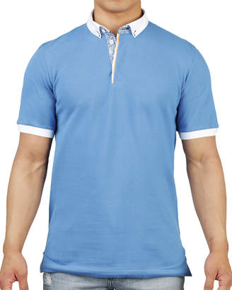 Maceoo Shaped-Fit Contrast-Trim Button-Collar Polo Shirt