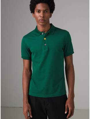Burberry Painted Button Cotton Pique Polo Shirt