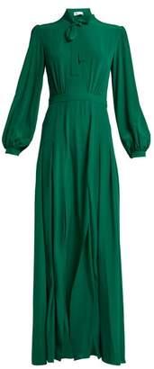 Raquel Diniz Armonia Pussy Bow Silk Crepe Dress - Womens - Dark Green