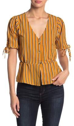 Planet Gold Tie Sleeve Button Down Top