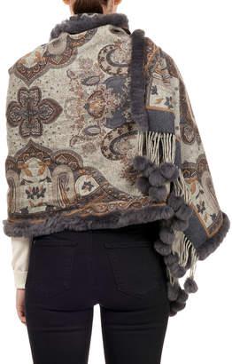 Gorski Double-Face Wool Stole w/ Rabbit Fur Loop & Pompoms, Blue Pattern