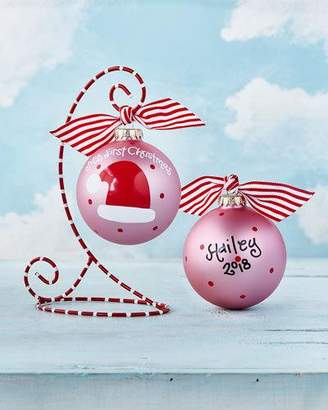Coton Colors My First Christmas Santa Hat Glass Ornament with Stand, Girl