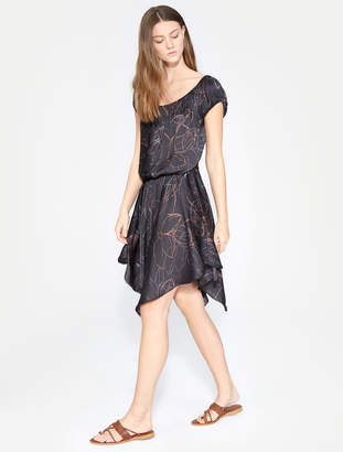 Halston Ruched Printed Dress