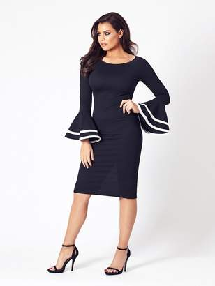 Jessica Wright Yulia Long Sleeve Midi Dress - Black